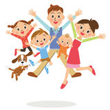 Family who jumps Royalty Free Stock Photos