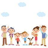 The family who looks up at the, sky Stock Images