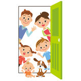 The family who says hello from, door Stock Photo