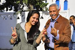 Family who voted, Tunisia Royalty Free Stock Image