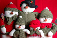Family winter. Close up of family of cute snowmen at holiday time Stock Images