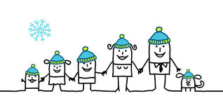 Family & winter. Vector hand-drawn characters line vector illustration