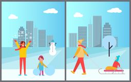 Family Winter Activities City Vector Illustration. Family winter activities in city, woman with snowflakes and girl with balls of snow, snowman and kid on sled Royalty Free Stock Images