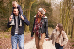 Family On Winter Countryside Walk Together Royalty Free Stock Photography