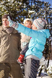 Family in winter day royalty free stock photo