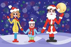 Family on winter holidays. Greeting card with family on winter holidays Stock Photos