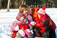 Family in winter park. Family having fun in the winter park Stock Image