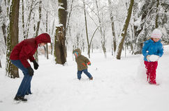 Family in winter park Stock Photos