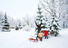 Family in winter park Stock Photography