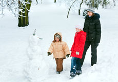 Family in winter park Stock Photos