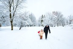Family in winter park Royalty Free Stock Photos