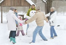 Family in winter park. Big happy family having fun in winter park covered with snow Royalty Free Stock Photography