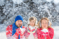 Family in winter park. Happy family playing outdoors. People having fun in winter park Stock Image