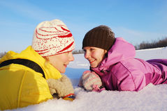 Family winter rest Stock Photo