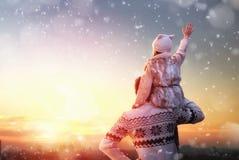 Family and winter season Stock Image
