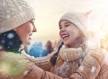 Family and winter season royalty free stock image