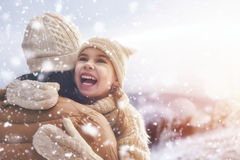 Family and winter season Stock Images