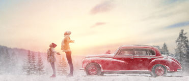 Family and winter season royalty free stock images