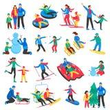 Family Winter Sports Icons Set Stock Image