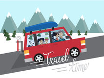 Family winter traveling. Mountain outdoor tourism. Travel by car. Flat design vector illustration. Royalty Free Stock Photos