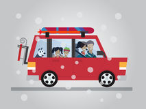 Family winter traveling. Travel by car. Flat design vector illustration. Royalty Free Stock Photo