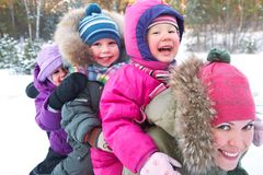 Family in wintertime Stock Photography