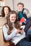 Family with wireless technology Stock Photo