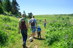 Free Family With Children On A Hike Stock Photos - 123678103