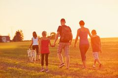 Free Family With Dog On The Trip Royalty Free Stock Image - 100386606