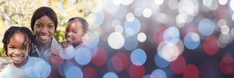 Free Family With Soldier Mother And Blue Red Bokeh Transition Stock Image - 95086791
