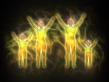 Family - woman, man and children - aura. Illustration of human energy body silhouette with, aura and chakras. Body of woman, man and children. Theme of Creation stock illustration