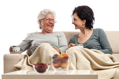 Family women coffee table talking laughing together  Royalty Free Stock Photo