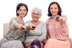 Family women tv remote control Stock Photography