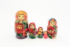 Family of wooden nested dolls stock photos