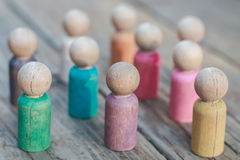 Family of Wooden Peg People Stock Images