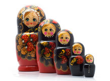 Family of wooden toys Stock Photography