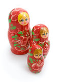 Family of wooden toys Stock Images