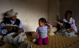 Family of wool workers, Otavalo, Ecuador Stock Photos