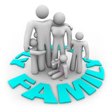 Family Word Circle - Mom Dad and Kids. A family -- mother, father and three children -- stand in a ring of the word Family Royalty Free Stock Photography