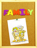 Family word on a corkboard Stock Photography
