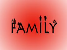 Family word with family shapes Royalty Free Stock Image