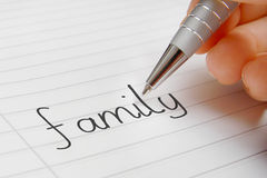 Family word handwriting stock images