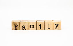 Family wording, relatives concept. Closeup family wording isolate on white background, relatives concept and idea Royalty Free Stock Photography