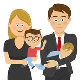 Family and work life: business man and woman holding their children. Over white Stock Photo