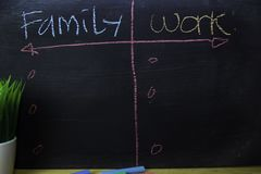 Family or Work written with color chalk concept on the blackboard royalty free stock photos
