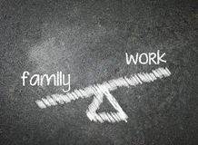 Family and work of your choice written with white chalk on a bla Royalty Free Stock Photo