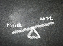 Family and work of your choice written with white chalk on a bla Royalty Free Stock Image