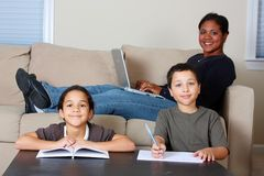 Family Working Stock Photo