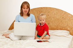 Family working from home stock photos