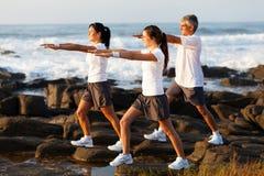 Family workout beach stock photo